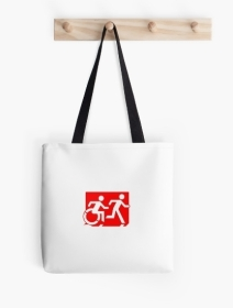 Accessible Means of Egress Icon Exit Sign Wheelchair Wheelie Running Man Symbol by Lee Wilson PWD Disability Emergency Evacuation Tote Bag 132