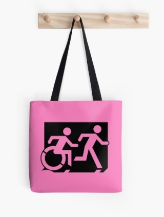 Accessible Means of Egress Icon Exit Sign Wheelchair Wheelie Running Man Symbol by Lee Wilson PWD Disability Emergency Evacuation Tote Bag 133