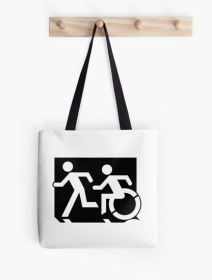 Accessible Means of Egress Icon Exit Sign Wheelchair Wheelie Running Man Symbol by Lee Wilson PWD Disability Emergency Evacuation Tote Bag 134