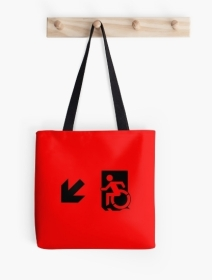 Accessible Means of Egress Icon Exit Sign Wheelchair Wheelie Running Man Symbol by Lee Wilson PWD Disability Emergency Evacuation Tote Bag 14
