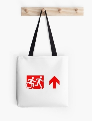 Accessible Means of Egress Icon Exit Sign Wheelchair Wheelie Running Man Symbol by Lee Wilson PWD Disability Emergency Evacuation Tote Bag 141
