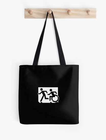 Accessible Means of Egress Icon Exit Sign Wheelchair Wheelie Running Man Symbol by Lee Wilson PWD Disability Emergency Evacuation Tote Bag 142