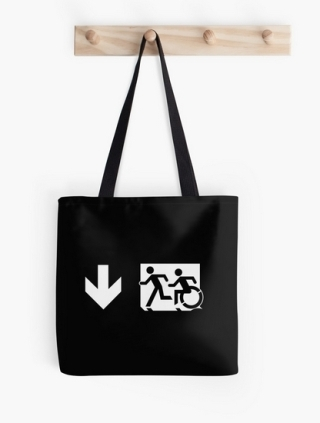 Accessible Means of Egress Icon Exit Sign Wheelchair Wheelie Running Man Symbol by Lee Wilson PWD Disability Emergency Evacuation Tote Bag 143