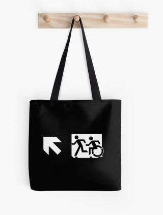 Accessible Means of Egress Icon Exit Sign Wheelchair Wheelie Running Man Symbol by Lee Wilson PWD Disability Emergency Evacuation Tote Bag 145