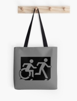 Accessible Means of Egress Icon Exit Sign Wheelchair Wheelie Running Man Symbol by Lee Wilson PWD Disability Emergency Evacuation Tote Bag 147