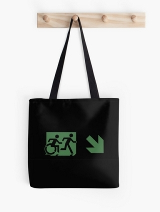 Accessible Means of Egress Icon Exit Sign Wheelchair Wheelie Running Man Symbol by Lee Wilson PWD Disability Emergency Evacuation Tote Bag 148