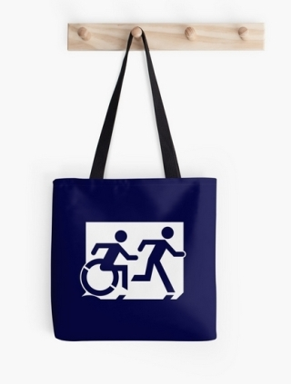 Accessible Means of Egress Icon Exit Sign Wheelchair Wheelie Running Man Symbol by Lee Wilson PWD Disability Emergency Evacuation Tote Bag 149