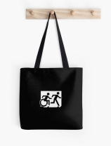 Accessible Means of Egress Icon Exit Sign Wheelchair Wheelie Running Man Symbol by Lee Wilson PWD Disability Emergency Evacuation Tote Bag 151