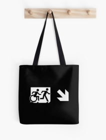 Accessible Means of Egress Icon Exit Sign Wheelchair Wheelie Running Man Symbol by Lee Wilson PWD Disability Emergency Evacuation Tote Bag 153