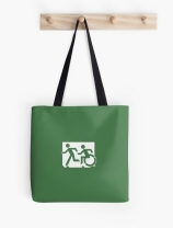 Accessible Means of Egress Icon Exit Sign Wheelchair Wheelie Running Man Symbol by Lee Wilson PWD Disability Emergency Evacuation Tote Bag 157