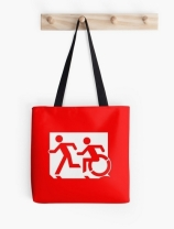Accessible Means of Egress Icon Exit Sign Wheelchair Wheelie Running Man Symbol by Lee Wilson PWD Disability Emergency Evacuation Tote Bag 160