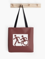 Accessible Means of Egress Icon Exit Sign Wheelchair Wheelie Running Man Symbol by Lee Wilson PWD Disability Emergency Evacuation Tote Bag 1