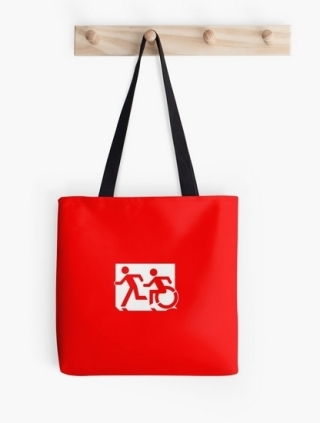Accessible Means of Egress Icon Exit Sign Wheelchair Wheelie Running Man Symbol by Lee Wilson PWD Disability Emergency Evacuation Tote Bag 17