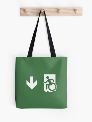 Accessible Means of Egress Icon Exit Sign Wheelchair Wheelie Running Man Symbol by Lee Wilson PWD Disability Emergency Evacuation Tote Bag 18
