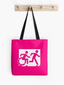Accessible Means of Egress Icon Exit Sign Wheelchair Wheelie Running Man Symbol by Lee Wilson PWD Disability Emergency Evacuation Tote Bag 19