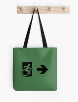 Accessible Means of Egress Icon Exit Sign Wheelchair Wheelie Running Man Symbol by Lee Wilson PWD Disability Emergency Evacuation Tote Bag 21