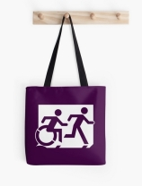 Accessible Means of Egress Icon Exit Sign Wheelchair Wheelie Running Man Symbol by Lee Wilson PWD Disability Emergency Evacuation Tote Bag 2