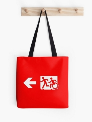 Accessible Means of Egress Icon Exit Sign Wheelchair Wheelie Running Man Symbol by Lee Wilson PWD Disability Emergency Evacuation Tote Bag 23