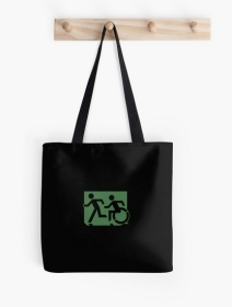 Accessible Means of Egress Icon Exit Sign Wheelchair Wheelie Running Man Symbol by Lee Wilson PWD Disability Emergency Evacuation Tote Bag 3