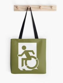 Accessible Means of Egress Icon Exit Sign Wheelchair Wheelie Running Man Symbol by Lee Wilson PWD Disability Emergency Evacuation Tote Bag 31