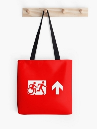 Accessible Means of Egress Icon Exit Sign Wheelchair Wheelie Running Man Symbol by Lee Wilson PWD Disability Emergency Evacuation Tote Bag 32