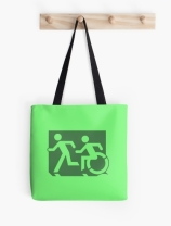 Accessible Means of Egress Icon Exit Sign Wheelchair Wheelie Running Man Symbol by Lee Wilson PWD Disability Emergency Evacuation Tote Bag 34