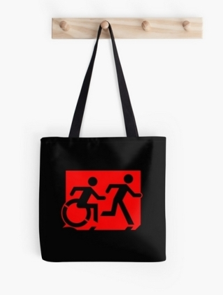 Accessible Means of Egress Icon Exit Sign Wheelchair Wheelie Running Man Symbol by Lee Wilson PWD Disability Emergency Evacuation Tote Bag 40