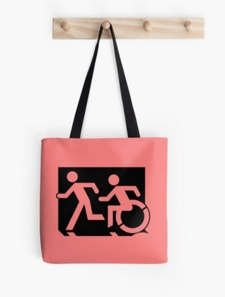 Accessible Means of Egress Icon Exit Sign Wheelchair Wheelie Running Man Symbol by Lee Wilson PWD Disability Emergency Evacuation Tote Bag 4