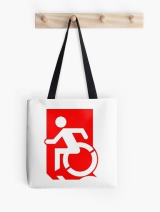 Accessible Means of Egress Icon Exit Sign Wheelchair Wheelie Running Man Symbol by Lee Wilson PWD Disability Emergency Evacuation Tote Bag 42