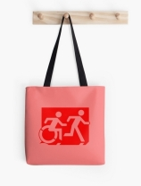 Accessible Means of Egress Icon Exit Sign Wheelchair Wheelie Running Man Symbol by Lee Wilson PWD Disability Emergency Evacuation Tote Bag 44