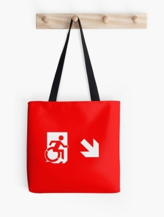 Accessible Means of Egress Icon Exit Sign Wheelchair Wheelie Running Man Symbol by Lee Wilson PWD Disability Emergency Evacuation Tote Bag 46
