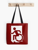 Accessible Means of Egress Icon Exit Sign Wheelchair Wheelie Running Man Symbol by Lee Wilson PWD Disability Emergency Evacuation Tote Bag 47