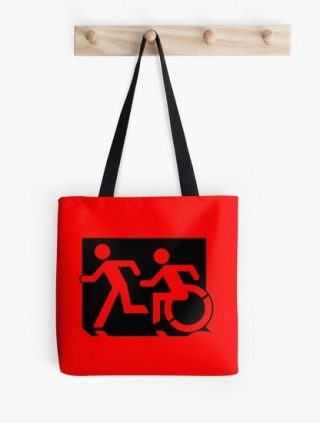 Accessible Means of Egress Icon Exit Sign Wheelchair Wheelie Running Man Symbol by Lee Wilson PWD Disability Emergency Evacuation Tote Bag 50