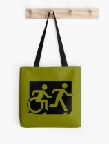 Accessible Means of Egress Icon Exit Sign Wheelchair Wheelie Running Man Symbol by Lee Wilson PWD Disability Emergency Evacuation Tote Bag 5
