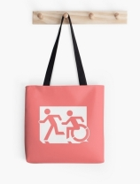 Accessible Means of Egress Icon Exit Sign Wheelchair Wheelie Running Man Symbol by Lee Wilson PWD Disability Emergency Evacuation Tote Bag 52