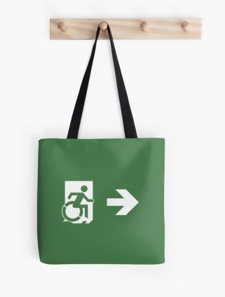 Accessible Means of Egress Icon Exit Sign Wheelchair Wheelie Running Man Symbol by Lee Wilson PWD Disability Emergency Evacuation Tote Bag 55