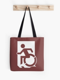 Accessible Means of Egress Icon Exit Sign Wheelchair Wheelie Running Man Symbol by Lee Wilson PWD Disability Emergency Evacuation Tote Bag 58