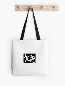 Accessible Means of Egress Icon Exit Sign Wheelchair Wheelie Running Man Symbol by Lee Wilson PWD Disability Emergency Evacuation Tote Bag 59