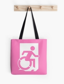 Accessible Means of Egress Icon Exit Sign Wheelchair Wheelie Running Man Symbol by Lee Wilson PWD Disability Emergency Evacuation Tote Bag 6