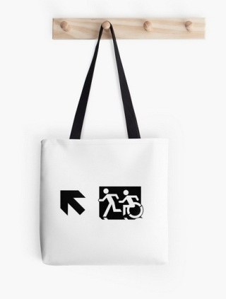 Accessible Means of Egress Icon Exit Sign Wheelchair Wheelie Running Man Symbol by Lee Wilson PWD Disability Emergency Evacuation Tote Bag 61