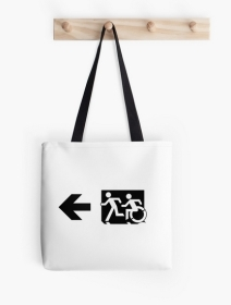 Accessible Means of Egress Icon Exit Sign Wheelchair Wheelie Running Man Symbol by Lee Wilson PWD Disability Emergency Evacuation Tote Bag 62