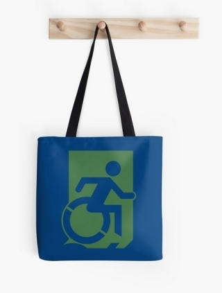 Accessible Means of Egress Icon Exit Sign Wheelchair Wheelie Running Man Symbol by Lee Wilson PWD Disability Emergency Evacuation Tote Bag 63