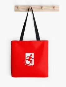 Accessible Means of Egress Icon Exit Sign Wheelchair Wheelie Running Man Symbol by Lee Wilson PWD Disability Emergency Evacuation Tote Bag 64