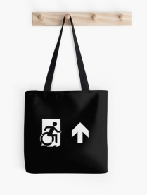 Accessible Means of Egress Icon Exit Sign Wheelchair Wheelie Running Man Symbol by Lee Wilson PWD Disability Emergency Evacuation Tote Bag 66
