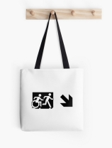 Accessible Means of Egress Icon Exit Sign Wheelchair Wheelie Running Man Symbol by Lee Wilson PWD Disability Emergency Evacuation Tote Bag 70