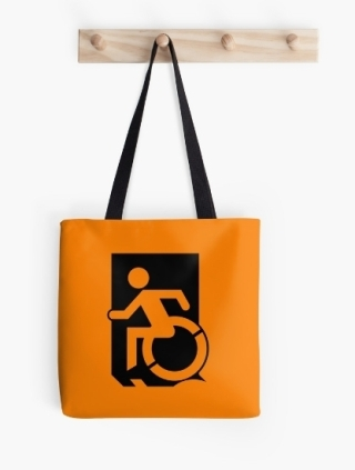 Accessible Means of Egress Icon Exit Sign Wheelchair Wheelie Running Man Symbol by Lee Wilson PWD Disability Emergency Evacuation Tote Bag 72