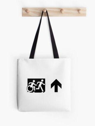 Accessible Means of Egress Icon Exit Sign Wheelchair Wheelie Running Man Symbol by Lee Wilson PWD Disability Emergency Evacuation Tote Bag 73