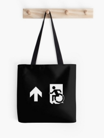 Accessible Means of Egress Icon Exit Sign Wheelchair Wheelie Running Man Symbol by Lee Wilson PWD Disability Emergency Evacuation Tote Bag 76