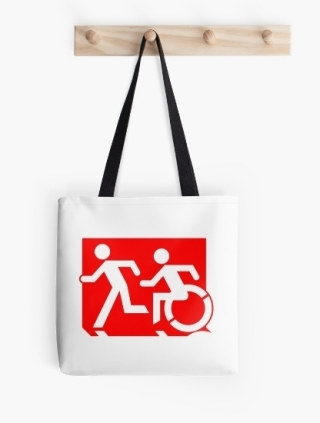 Accessible Means of Egress Icon Exit Sign Wheelchair Wheelie Running Man Symbol by Lee Wilson PWD Disability Emergency Evacuation Tote Bag 78