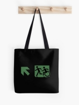 Accessible Means of Egress Icon Exit Sign Wheelchair Wheelie Running Man Symbol by Lee Wilson PWD Disability Emergency Evacuation Tote Bag 79